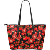 Tomato Black Background Large Leather Tote Bag