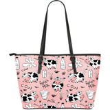 Cows milk product pink background Large Leather Tote Bag