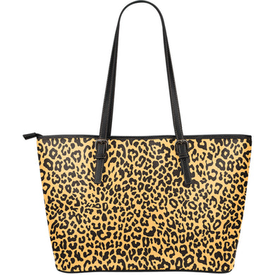 Leopard skin print Large Leather Tote Bag