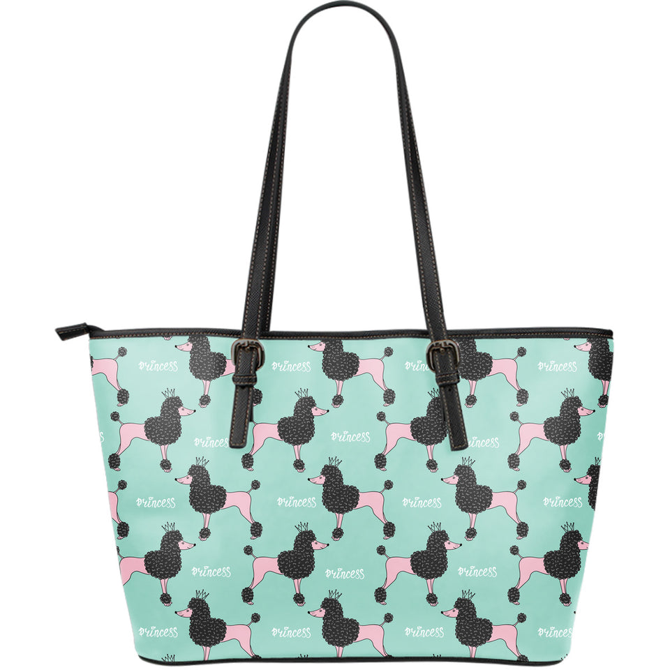 Poodle Dog Green Background Large Leather Tote Bag