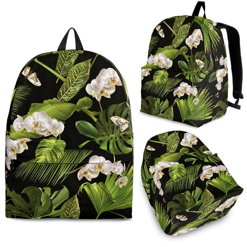 White Orchid Flower Tropical Leaves Pattern Blackground Backpack