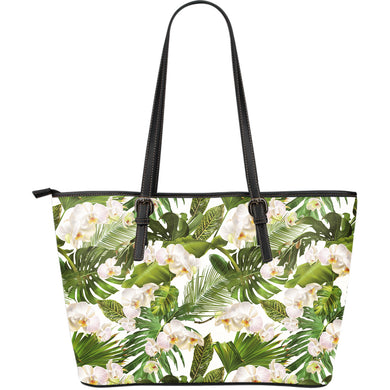White Orchid Flower Tropical Leaves Pattern Large Leather Tote Bag