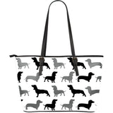 Black And Grey Dachshund Large Leather Bag