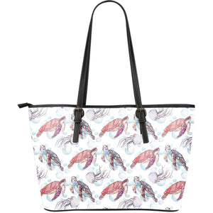 Watercolor sea turtle jellyfish pattern Large Leather Tote Bag