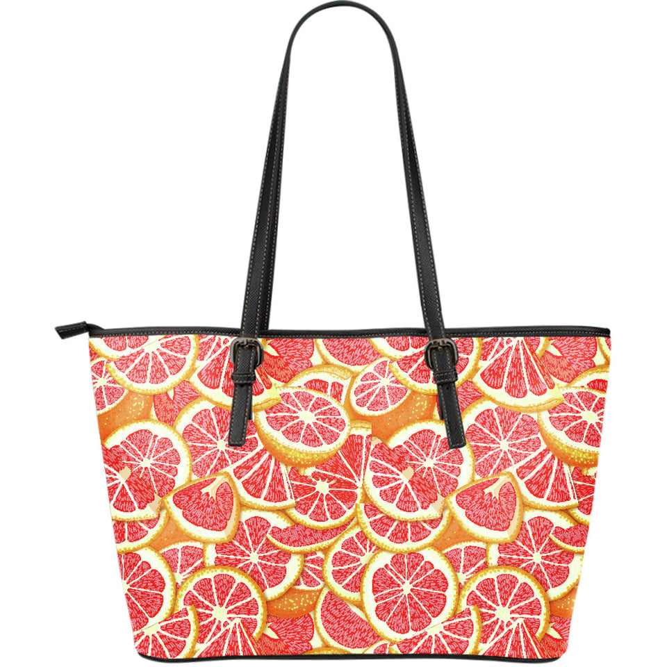Tropical Grapefruit Pattern Large Leather Tote Bag