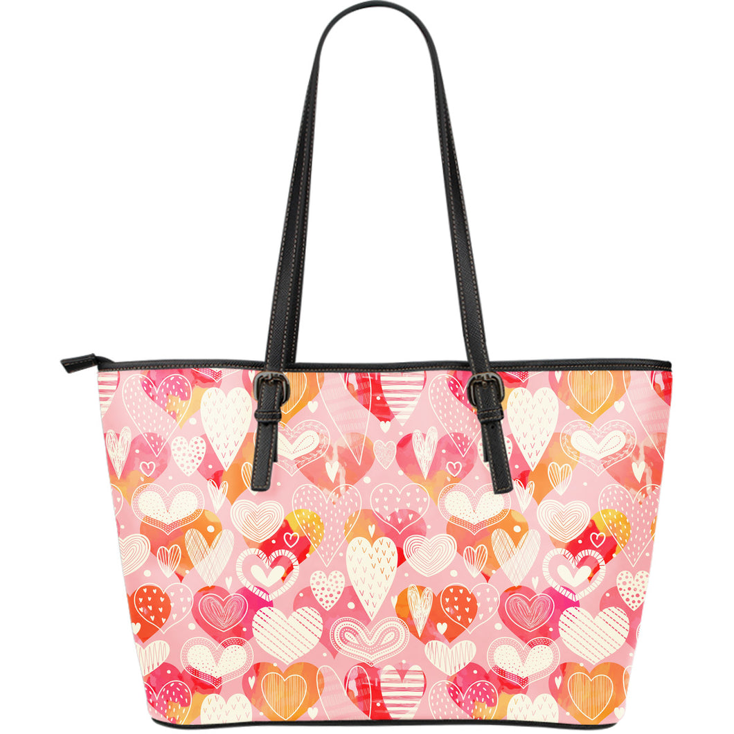 Hand Drawn Heart Design Pattern Large Leather Tote Bag