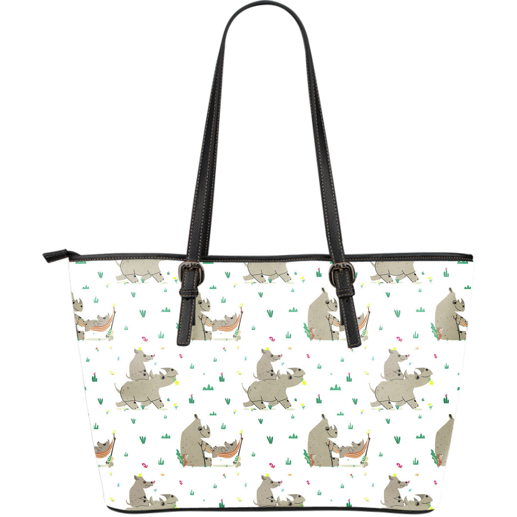 Cute Rhino pattern background Large Leather Tote Bag