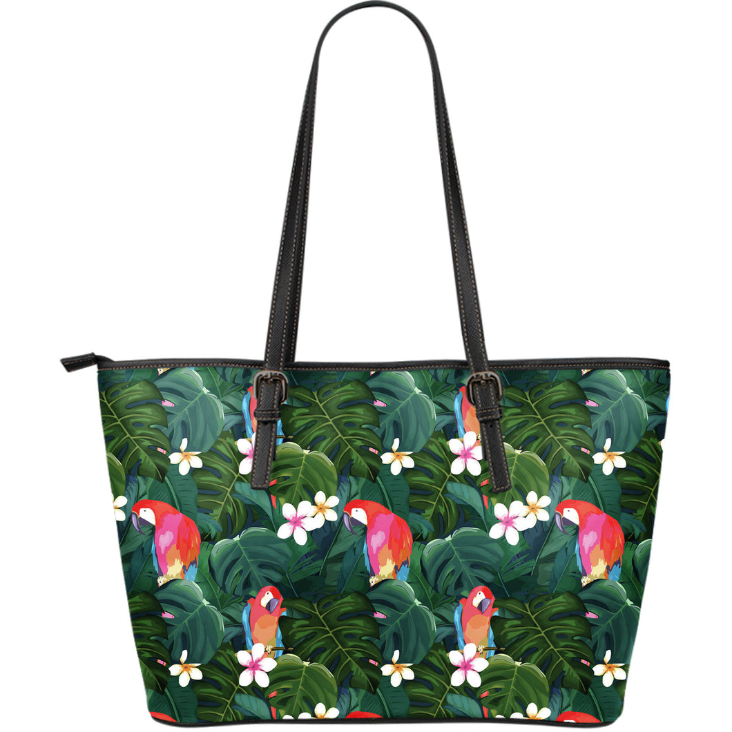 Parrot Palm tree leaves flower hibiscus pattern Large Leather Tote Bag