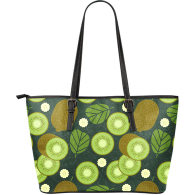 Whole sliced kiwi leave and flower Large Leather Tote Bag