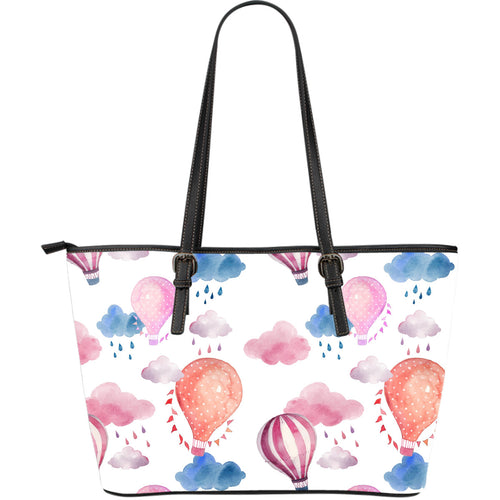 Watercolor air balloon cloud pattern Large Leather Tote Bag