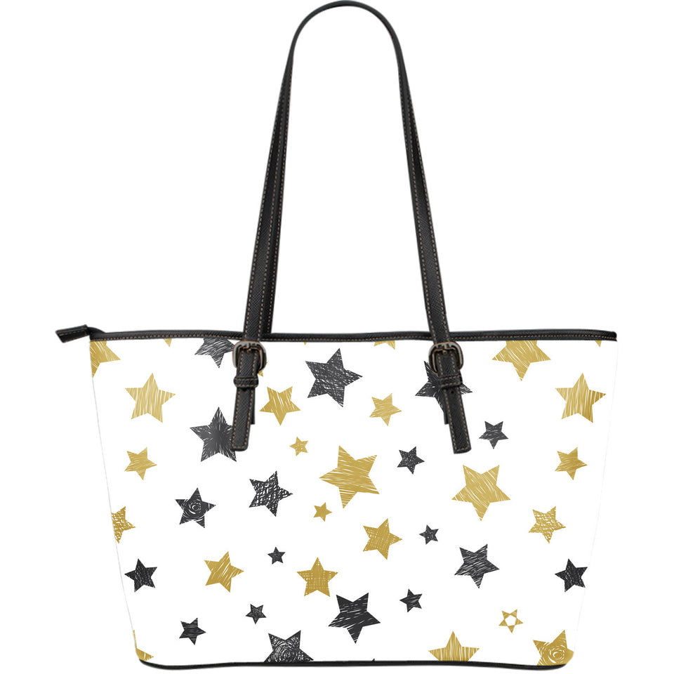 hand drawn gold black star pattern Large Leather Tote Bag
