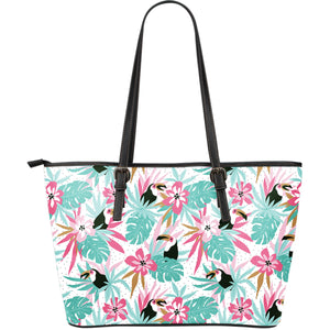 Toucan tropical flower leave pattern Large Leather Tote Bag