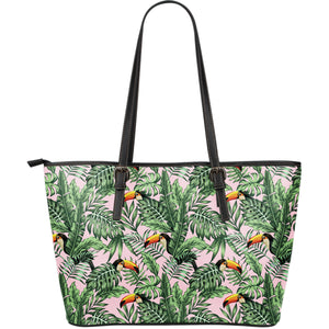 Toucan tropical green jungle palm pattern Large Leather Tote Bag