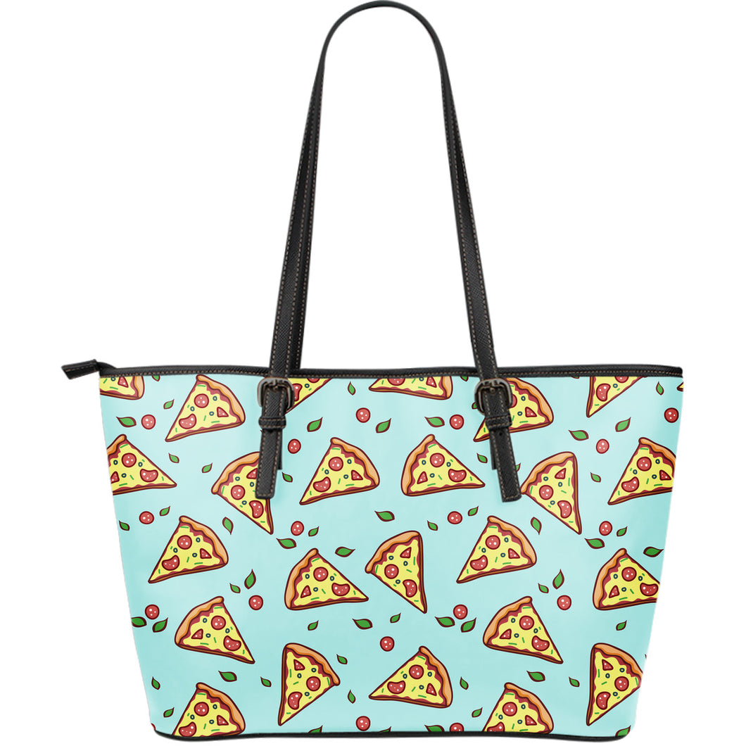 Hand drawn pizza blue background Large Leather Tote Bag