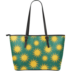 Sun green background Large Leather Tote Bag