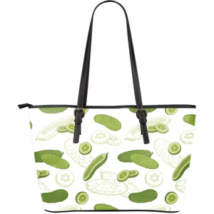 Cucumber sketch pattern Large Leather Tote Bag