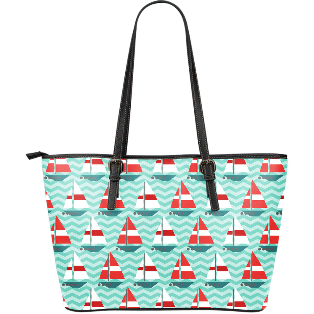 Red White sailboat wave background Large Leather Tote Bag