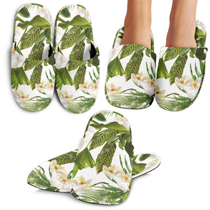 White Orchid Flower Tropical Leaves Pattern Slippers