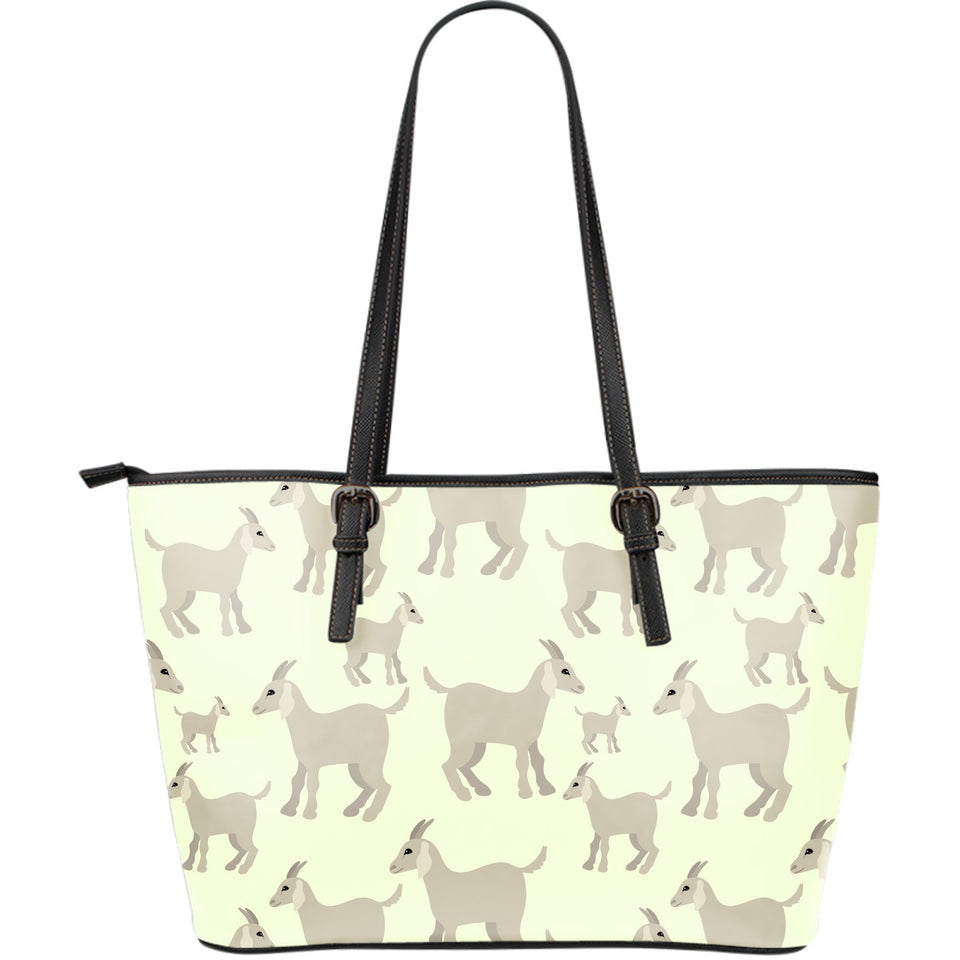 Little Young Goat Pattern Large Leather Tote Bag