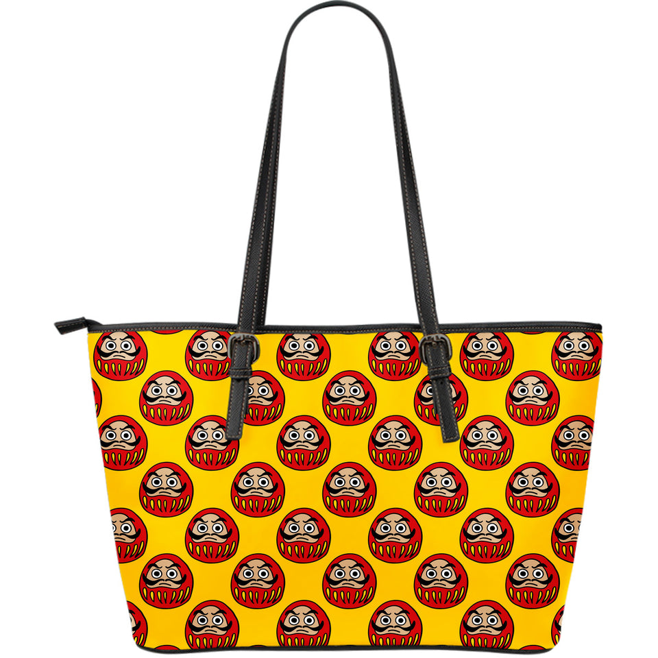 Daruma japanese wooden doll yellow background Large Leather Tote Bag