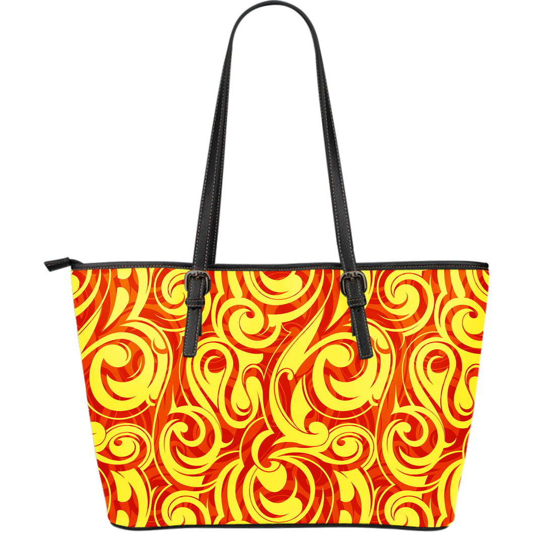 Fire Flame Design Pattern Large Leather Tote Bag