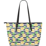 Pineapples pattern striped background Large Leather Tote Bag