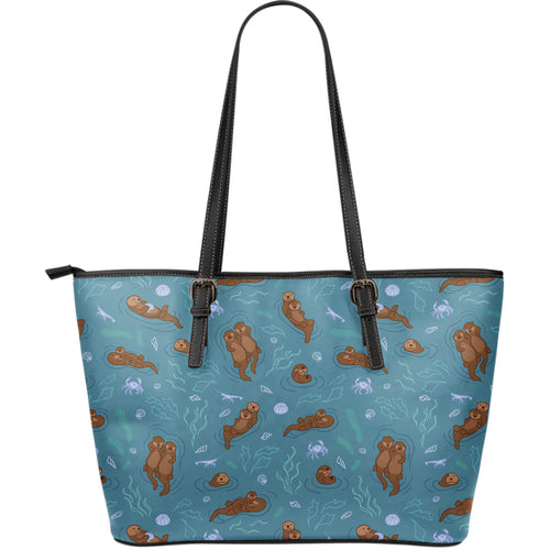 Sea otters pattern Large Leather Tote Bag