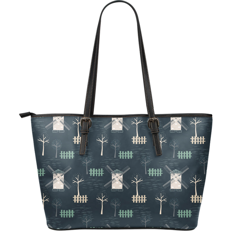 Windmill Tree Pattern Large Leather Tote Bag