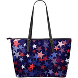 Red Blue Star Pattern Large Leather Tote Bag