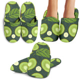 Whole Sliced Kiwi Leave And Flower Slippers