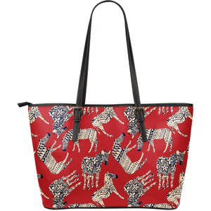 Zebra Abstract Red Background Large Leather Tote Bag
