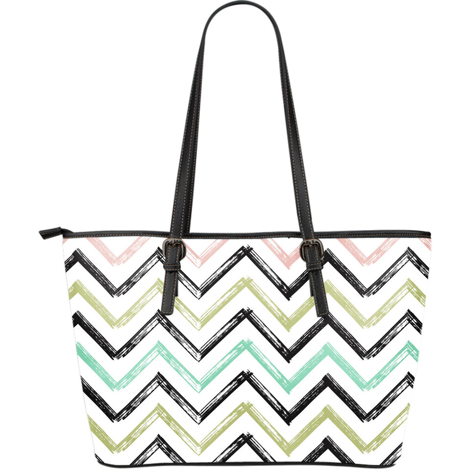 zigzag  chevron paint pattern Large Leather Tote Bag