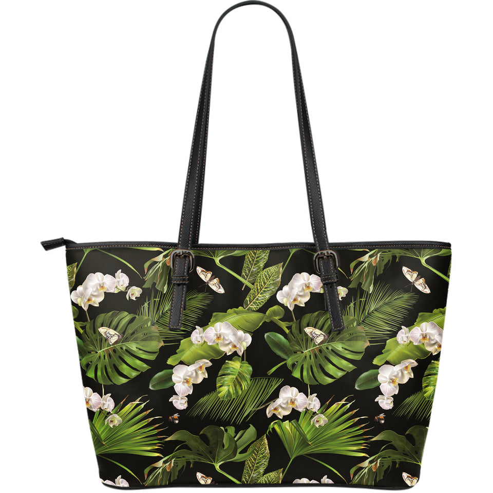 White orchid flower tropical leaves pattern blackground Large Leather Tote Bag