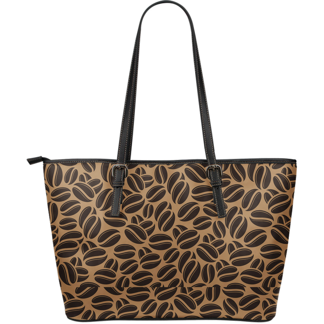 Coffee bean on brown background Large Leather Tote Bag