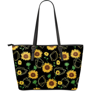 Sunflower Golden Polygonal Shapes Large Leather Tote Bag