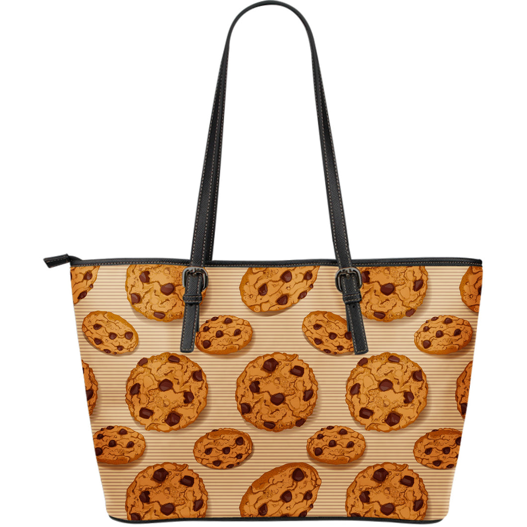 Cookie pattern Large Leather Tote Bag