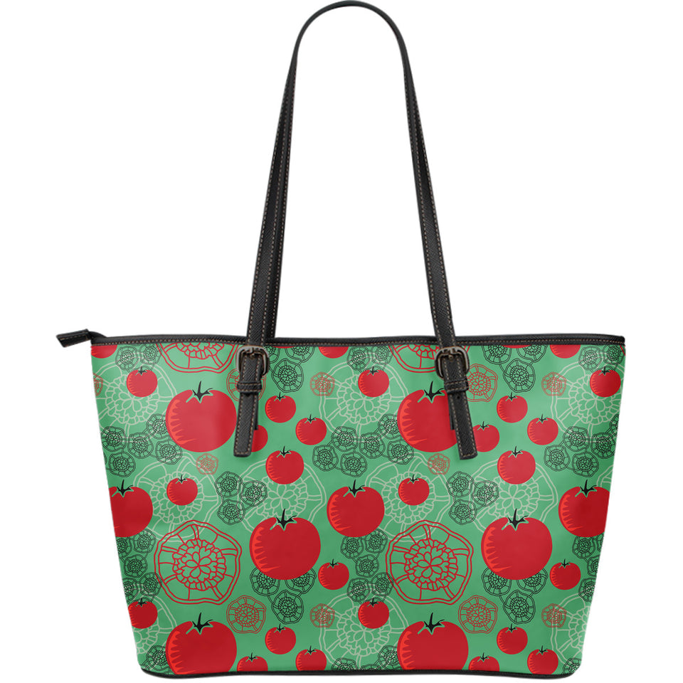 Tomato design pattern Large Leather Tote Bag