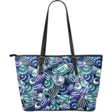 Shell Design Pattern Large Leather Tote Bag