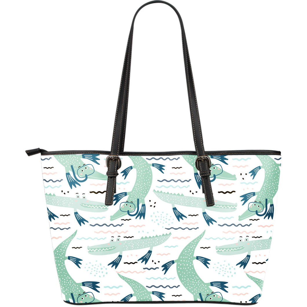 Crocodile diver pattern Large Leather Tote Bag