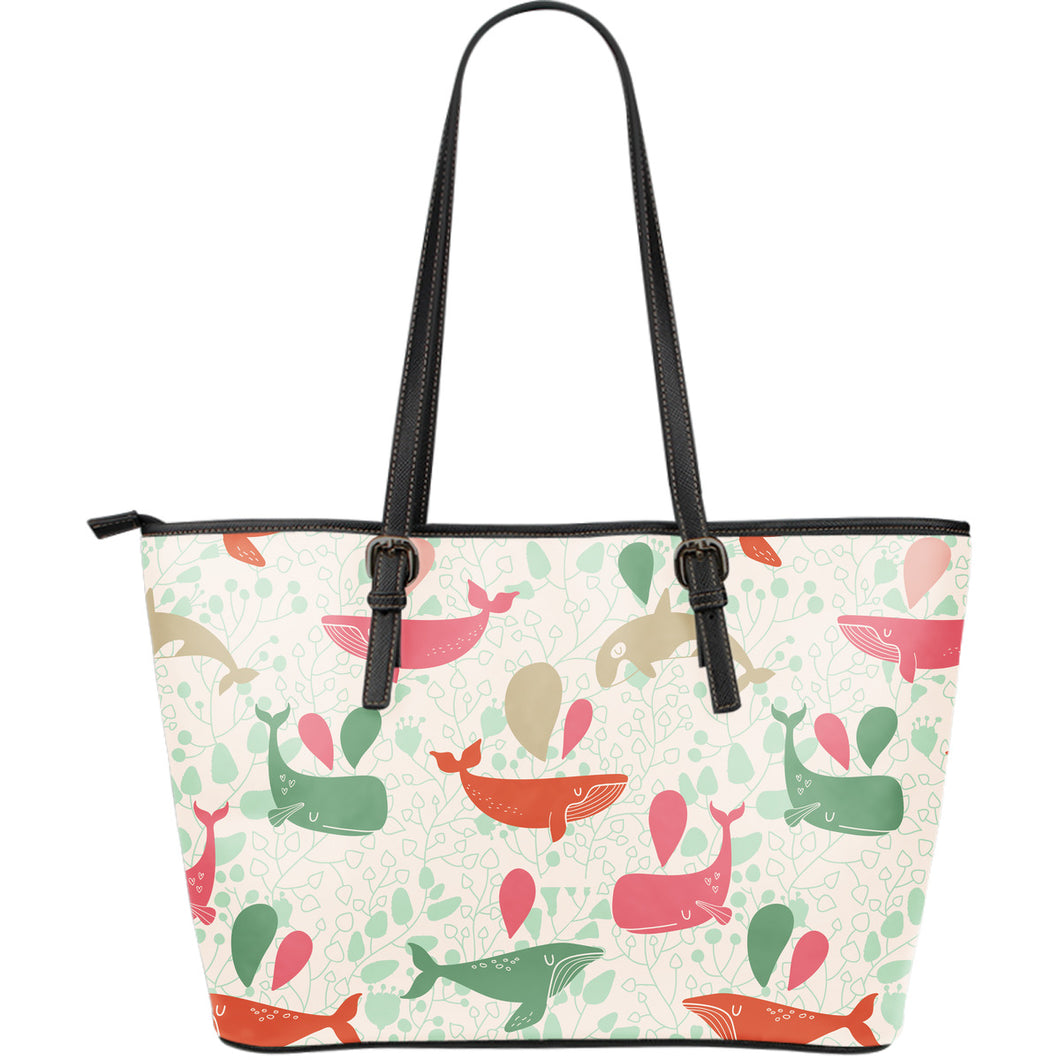 Cute whale pattern Large Leather Tote Bag