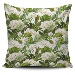 White orchid flower tropical leaves pattern Pillow Cover
