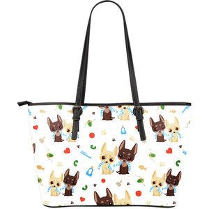 Cute Chihuahua Dog Pattern Large Leather Tote Bag