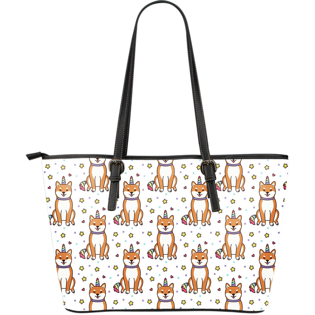 shiba inu unicorn costume horn colorful tail pattern Large Leather Tote Bag
