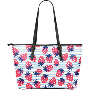 Strawberry pattern blue lines background Large Leather Tote Bag