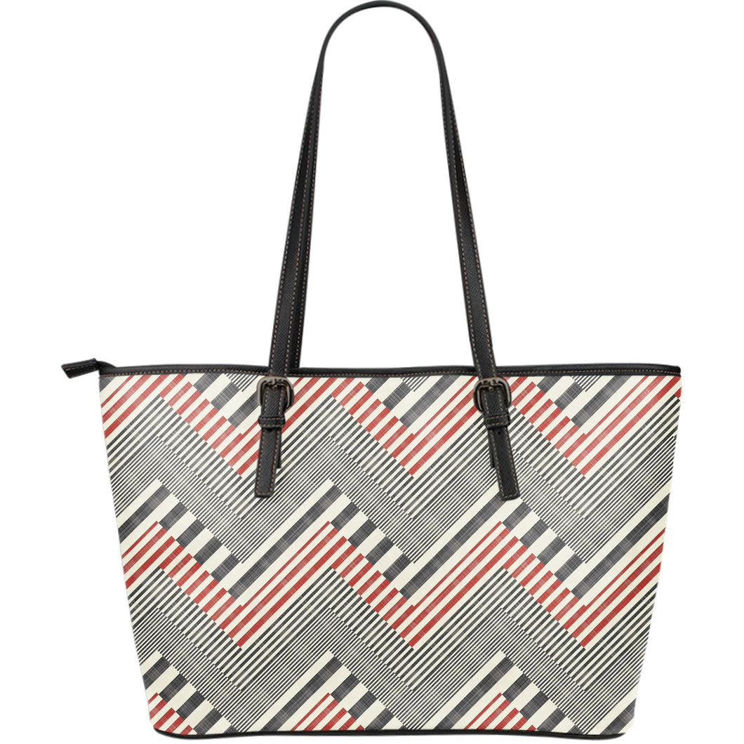 zigzag chevron striped pattern Large Leather Tote Bag