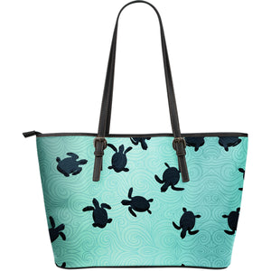 Sea Turtle With Blue Ocean Backgroud Large Leather Tote Bag