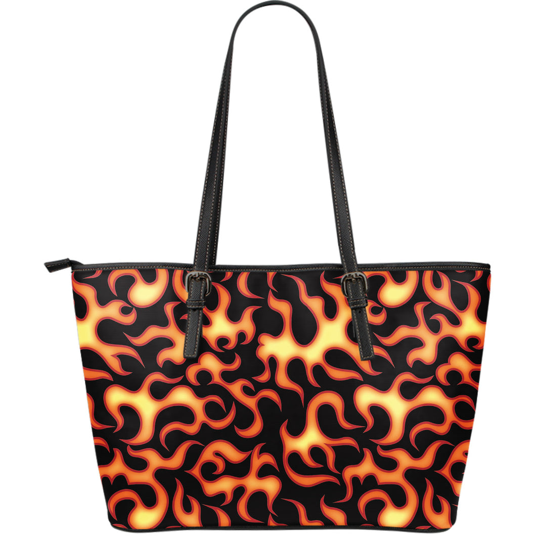 Fire Flame Dark Pattern Large Leather Tote Bag
