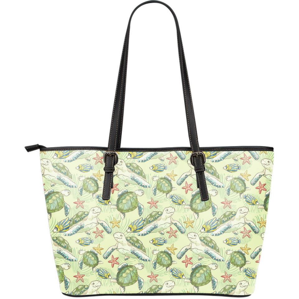 Hand Drawn Sea Turtle Fish Pattern Large Leather Tote Bag