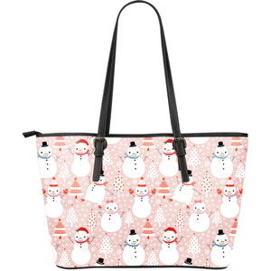 Cute snowman christmas tree snowpink background Large Leather Tote Bag