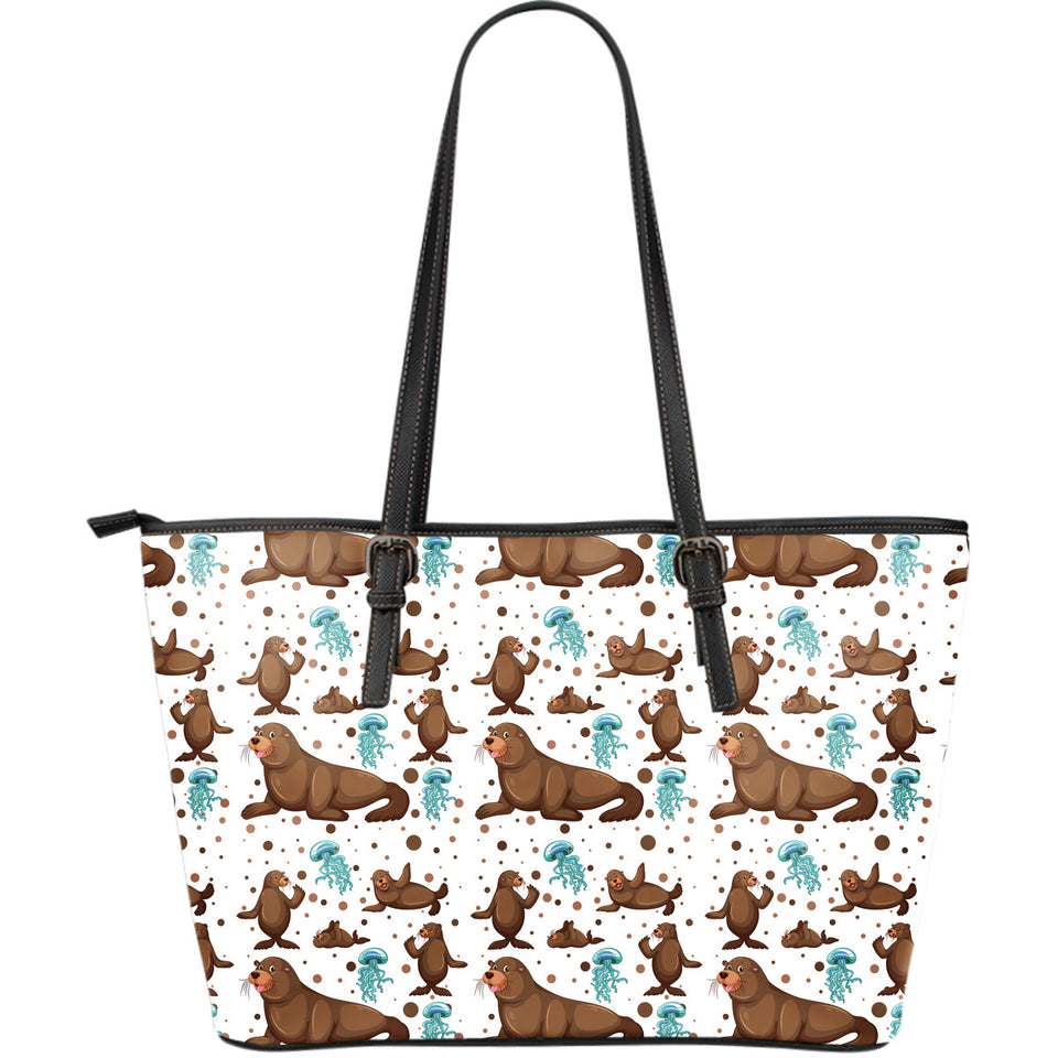 sea lion Seals jellyfish pattern Large Leather Tote Bag